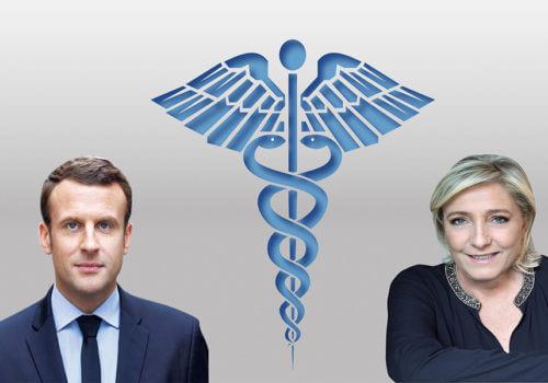Macron et Le Pen avec caducée au milieu
