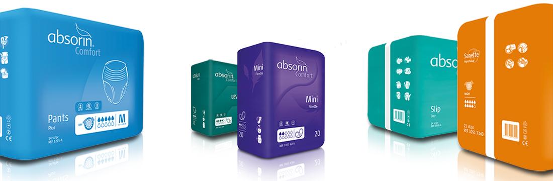 Un aperçu de l'emballage des produits de la marque Absorin