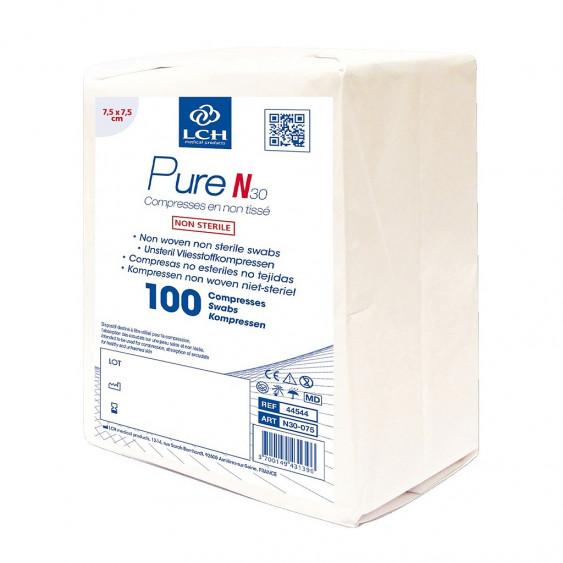 Compresses Non tissées Non Stériles Pure N30 - 7,5cmx7,5cm - LCH - Boite de 100