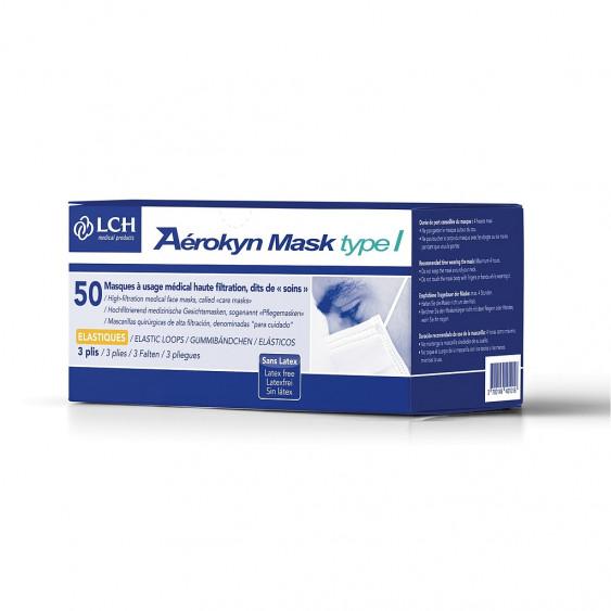 Masque Chirurgical Bleu Type I avec élastiques - Boîte de 50