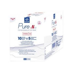 Compresses Non tissées Stériles Pure N40 9plis- 10cmx20cm - Boite de 50